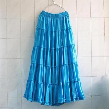 2019 Bohemia Women Long Beach Skirts Plus size Summer Girls Ruffles Beach Skirt Ladies Cotton Skirts Female Solid Casual Skirt