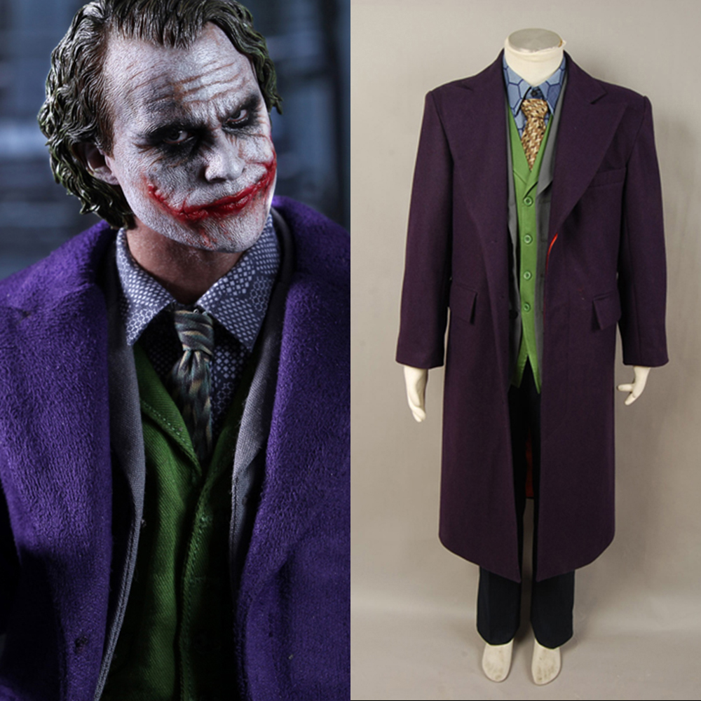 Batman Dark Knight Joker Purple Wool Trench Coat For Adult Men Halloween Movie Cosplay Costume Coat Only