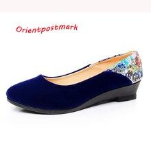 Nuevos Zapatos de Tela Chinos Elegantes Cuñas Flor de la Impresión de Las Mujeres de Las Cuñas de Zapatos de Las Mujeres Zapatos De Ballet Barco Zapato Oversize OrientPostMark