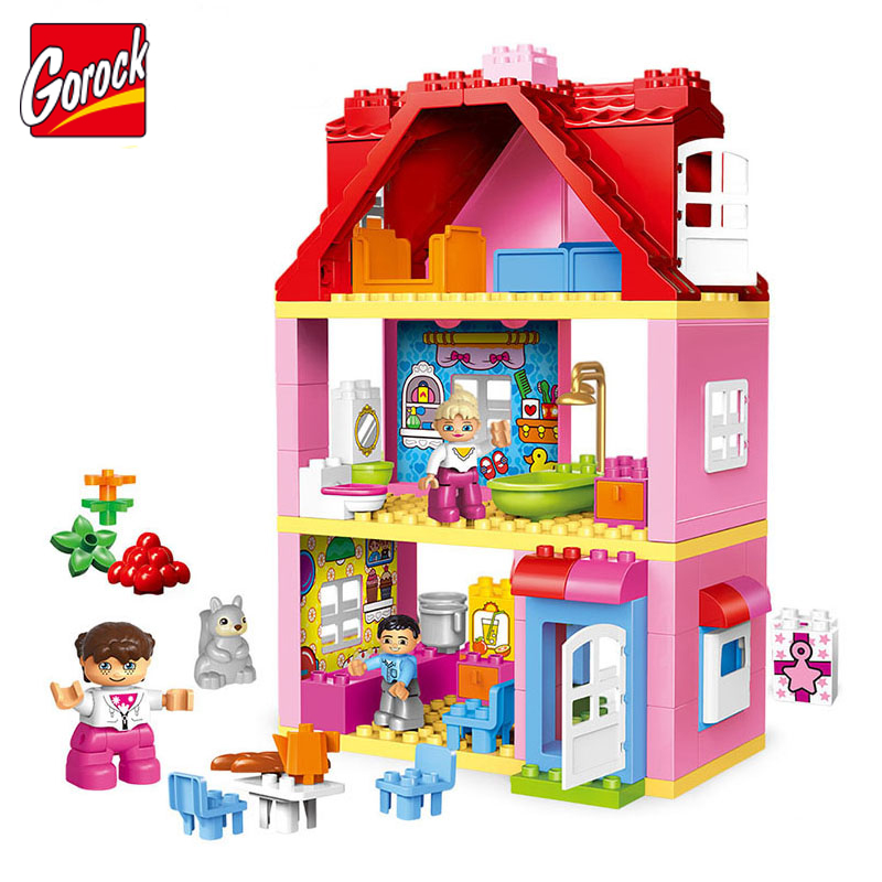 19~78pcs House Colorful Building Blocks Kit Bricks Christmas Gifts Educational Toys For Children Compatible legoe duplo Toy Hot ...