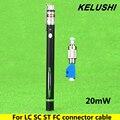 KELUSHI 20 mW Pen Tipo de Fibra Fonte de Laser Vermelho Localizador Visual da Falha da Fibra Óptica Cable Tester Ferramenta de Teste com LC/FC/SC/ST Adaptador