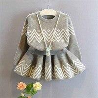 Kleinkind Kinder Baby Mädchen Outfits grau pullover + ballettröckchen-rock gesetzt, 2-7y mädchen Kleidung Set, kinder outwear herbst winter