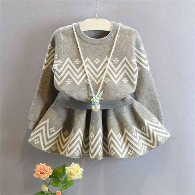 Toddler Kids Baby Girls Outfits gray sweater+tutu skirt set,2-7y girls Clothes Set,children outwear autumn winter