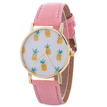 Newly Women Watch Quartz Vintage Stylish Pineapple Printing Lady Womans Leather Bracelet Wrist Watch Relogio Feminino