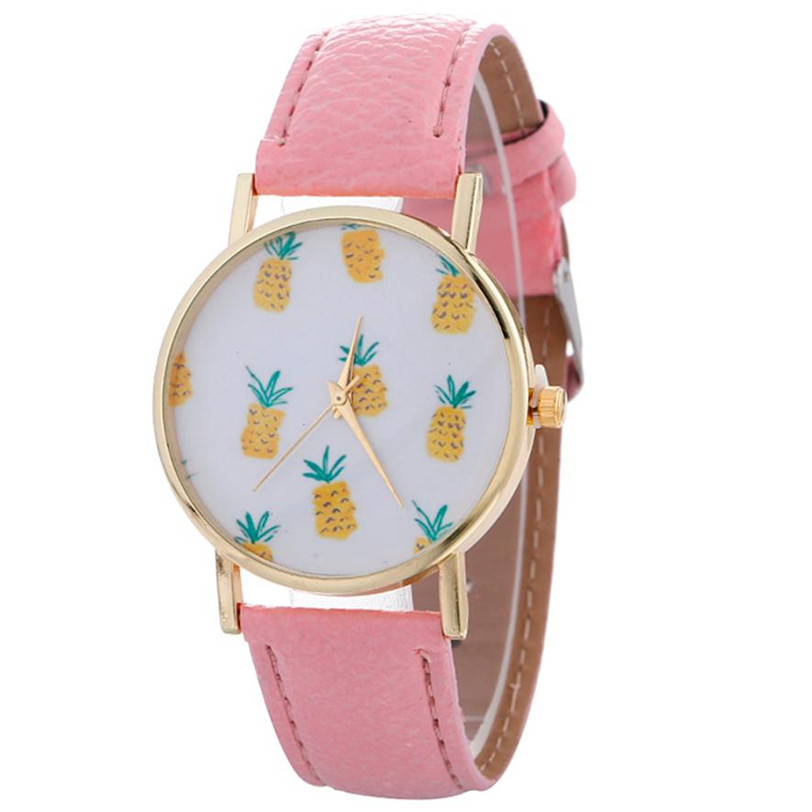 Newly Women font b Watch b font Quartz Vintage Stylish Pineapple Printing Lady Womans Leather Bracelet