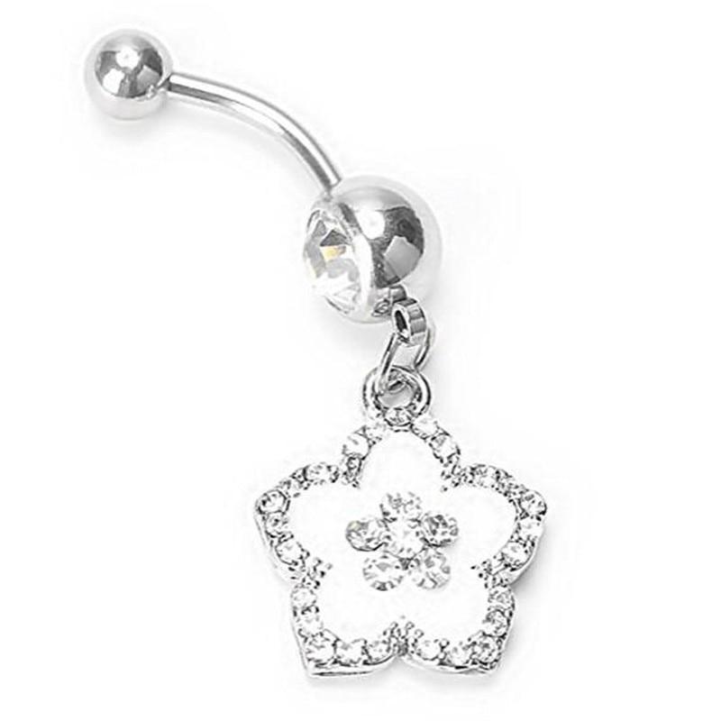 14g Navel Belly Button Ring Bar White Epoxy Enamel Hawaiian Flower