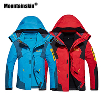 Mountainskin Men Women Autumn Winter Outdoor Jacket Camping Hiking Fleece Windbreaker Two pieces Suit Hooded Brand Jacket VA339