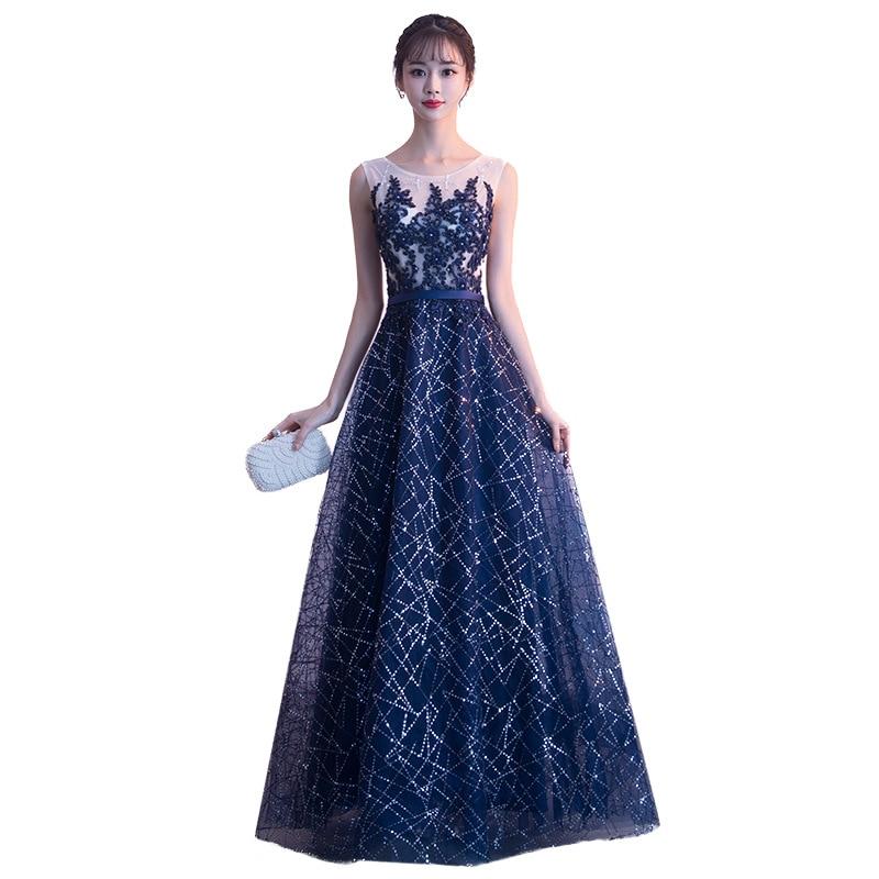 Navy Blue Chinese Oriental O Neck Sequins Wedding Women Sexy Cheongsam Evening Dress Elegant Princess Dresses