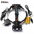 8000Lm Zoom Adjust Focus Led lighting Head Lamp T6+2R5 LED Headlamp Headlight Camping Fishing Light+Car charger battery+USB