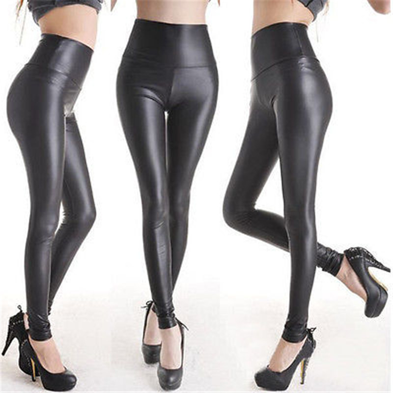 Sexy Women Matt Look High Waist Stretch Faux Leather Slim Pants Leggings Long Single Layer PU Faux Leather Leggings(China)