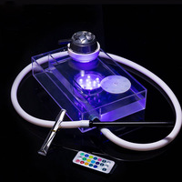 Transparent Acrylic Hookah Set Narghile Shisha with Shisha Hookah Hose Charcoal Holder Shisha Water Container for Club Bar 68C