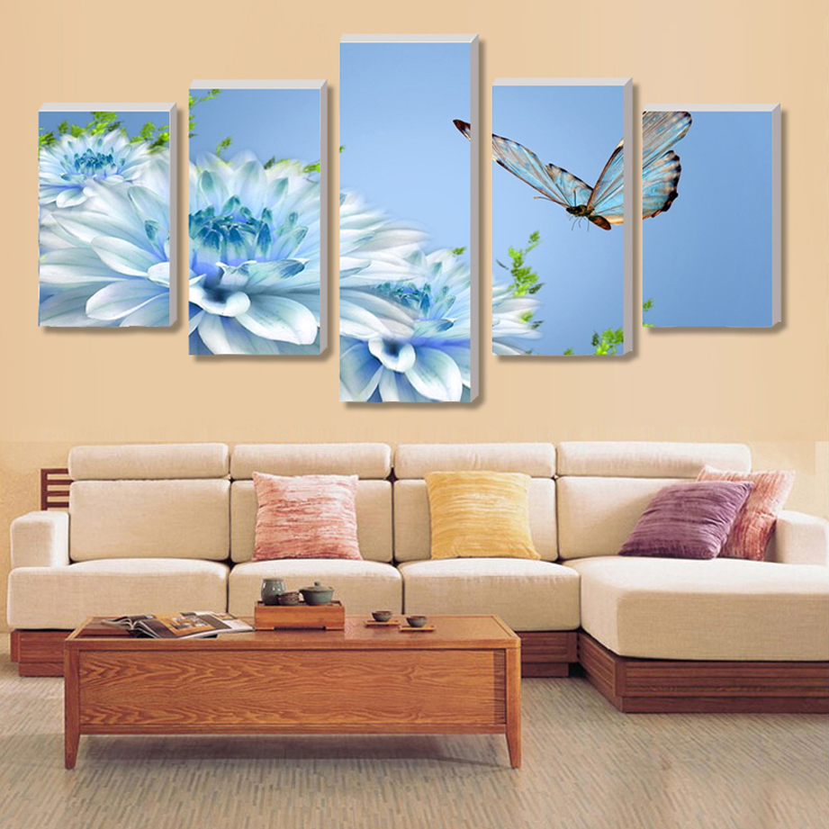 Wall Art Paintings For Living Room Compare Prices On Blue Butterfly Art Online Shopping Buy Low