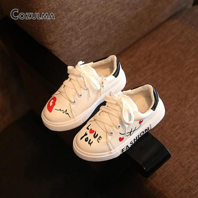 2018 Spring Child Sport Shoes Sneakers PU Leather Sneaker Boys Girls Sneakers  Kids Shoes