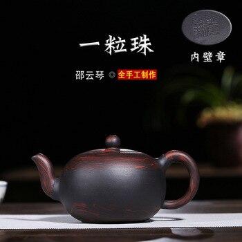 Tetera Yixing cerámica esmaltada de color rojo oscuro tetera Manual completo famoso juego de té de barro esmerilado una mezcla de lotes de pellets macetas