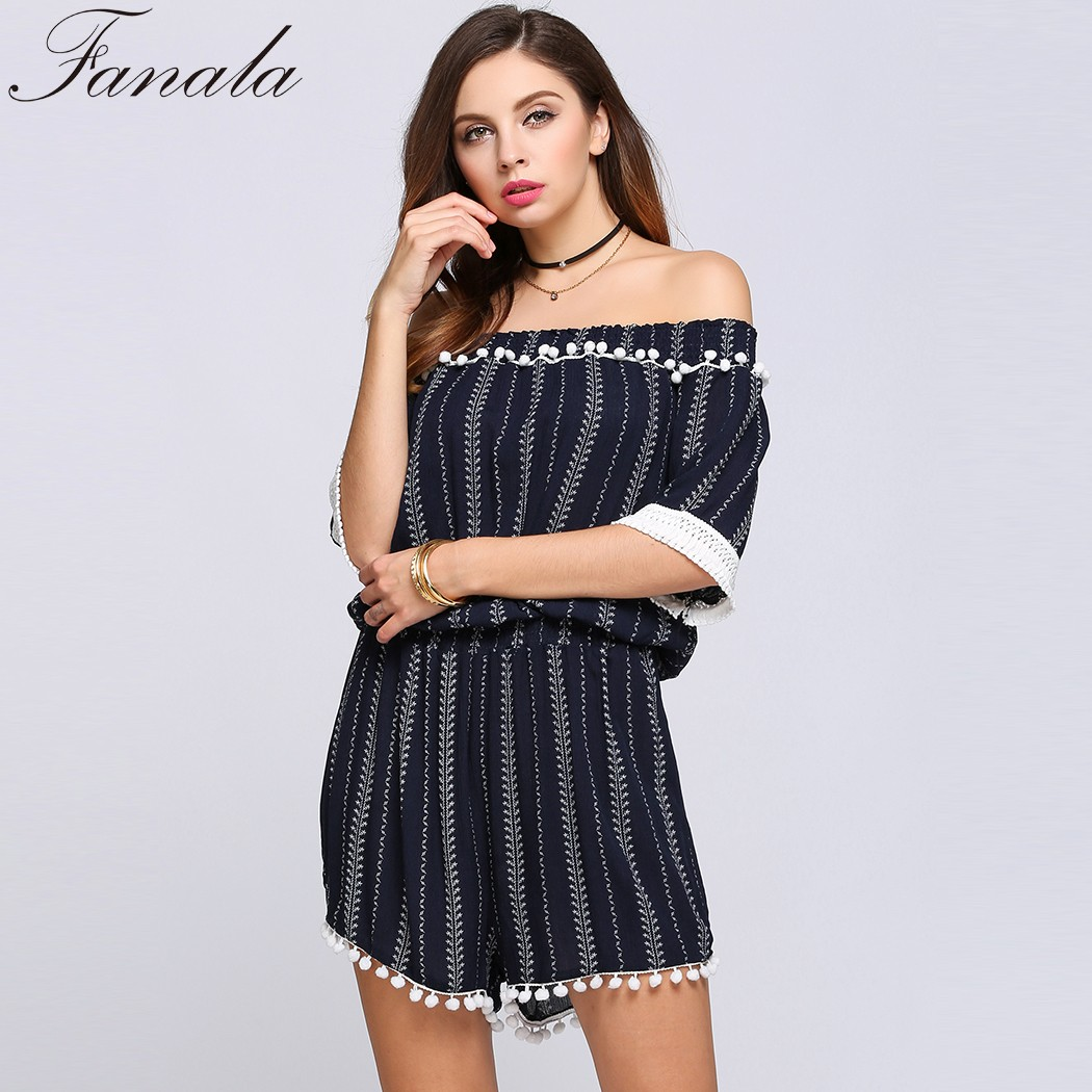 42c3bf29287c FANALA Fashion Striped Jumpsuit Half Sleeve Off The Shoulder Striped Tassel  Rompers Dark Blue Playsuit Women macacao feminino-in Rompers from Women s  ...