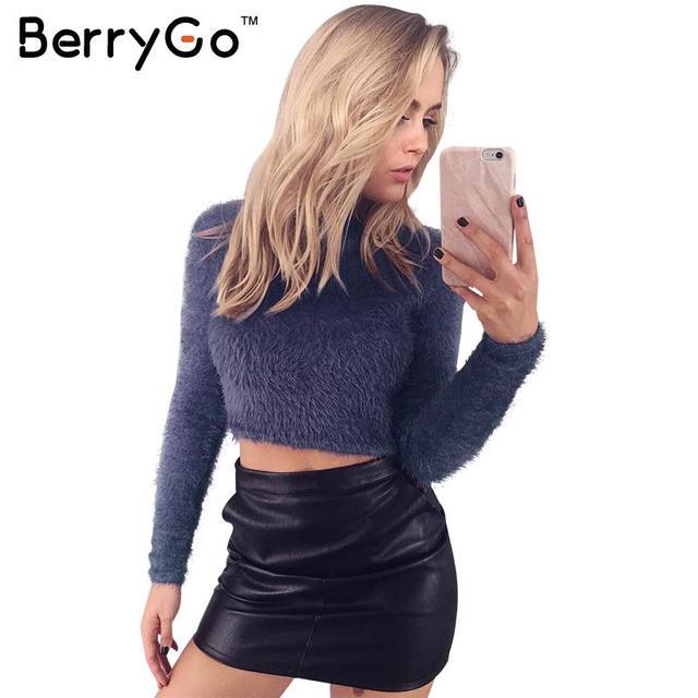 BerryGo Chic hairy turtleneck winter sweater Women warm long sleeve white crop top Autumn 2016 plush black sweater short tops