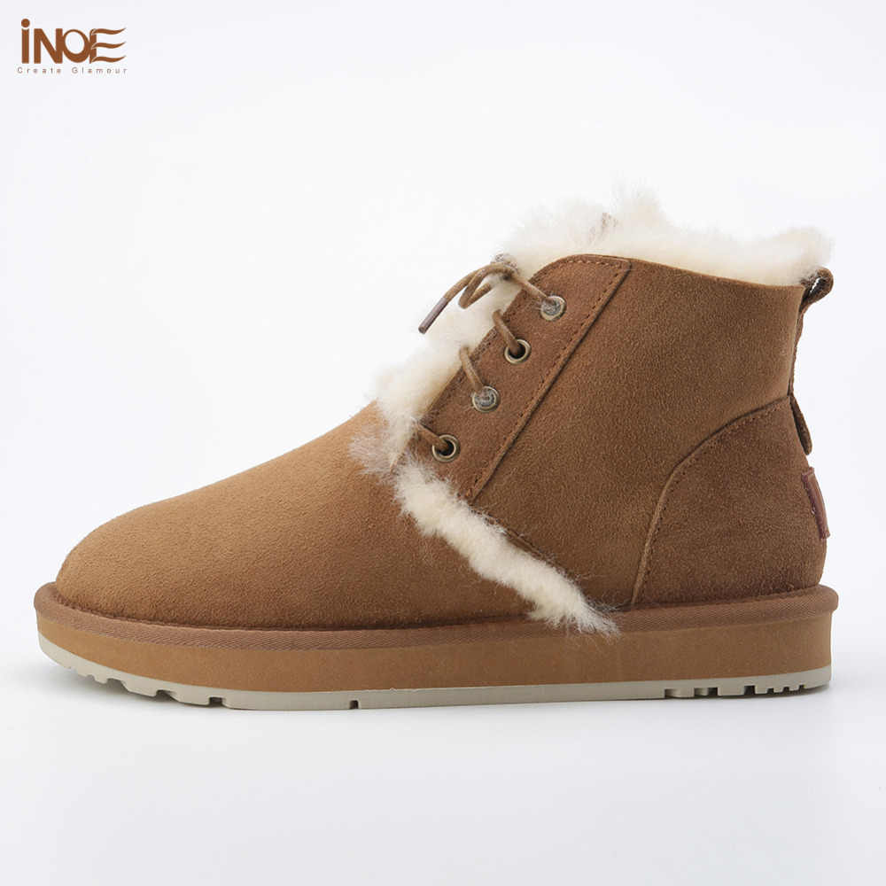 Yeni moda stil gerçek koyun derisi deri kürk astarlı kadın ayak bileği kış kar botları lace up casual kış ayakkabı olmayan kaymaz taban