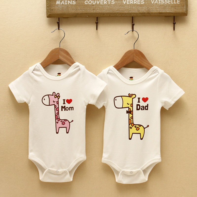 4d293051b198 Cute Infant Baby Clothes suits Girls Boys Rompers Love Mom Dad Jumpsuits  Cotton Newborn Kids Dress High Quality Summer Spring-in Bodysuits from  Mother ...