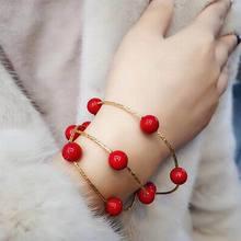 Lucky Red Bead Bracelets For Women Multi Layers Elastic Bracelet Fashion Jewelry Korean Style