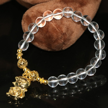 White electroplated crystal bracelets for women 8mm round beads factory outlet diy lovely monkey pendant jewelry 7.5inch B2192