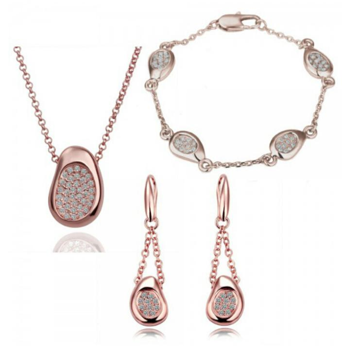 Necklace Gold Women Earrings Jewelry-Sets Crystal Gift Fashion White 18-Kt Hand-Catenary