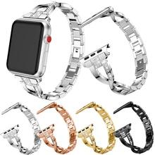 Faixas de Relógio Women Watch band para Apple 38mm diamante Em Aço Inoxidável Pulseira de Relógio Inteligente para iwatch série 4 3 2 1 pulseira