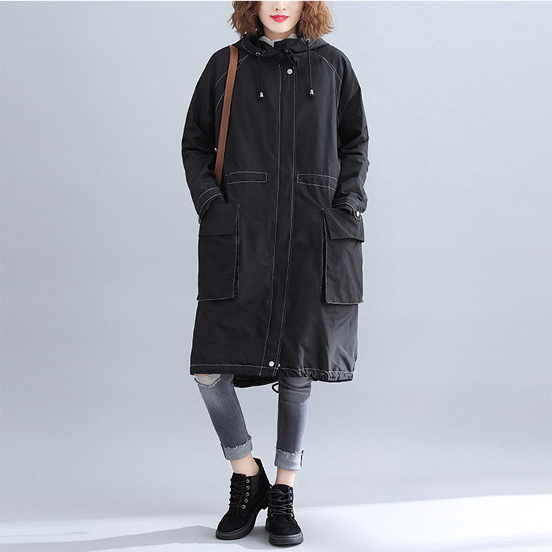 Street   Trench   Coat Loose Large Size Women's Spring Autumn 2019 New Long-Sleeved Solid Color Female Hooded Long Windbreaker LQ696