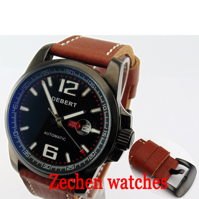 Debert 44MM fashion watch men's automatic mechanical watch men's calendar mechanical watch watches men цена и фото