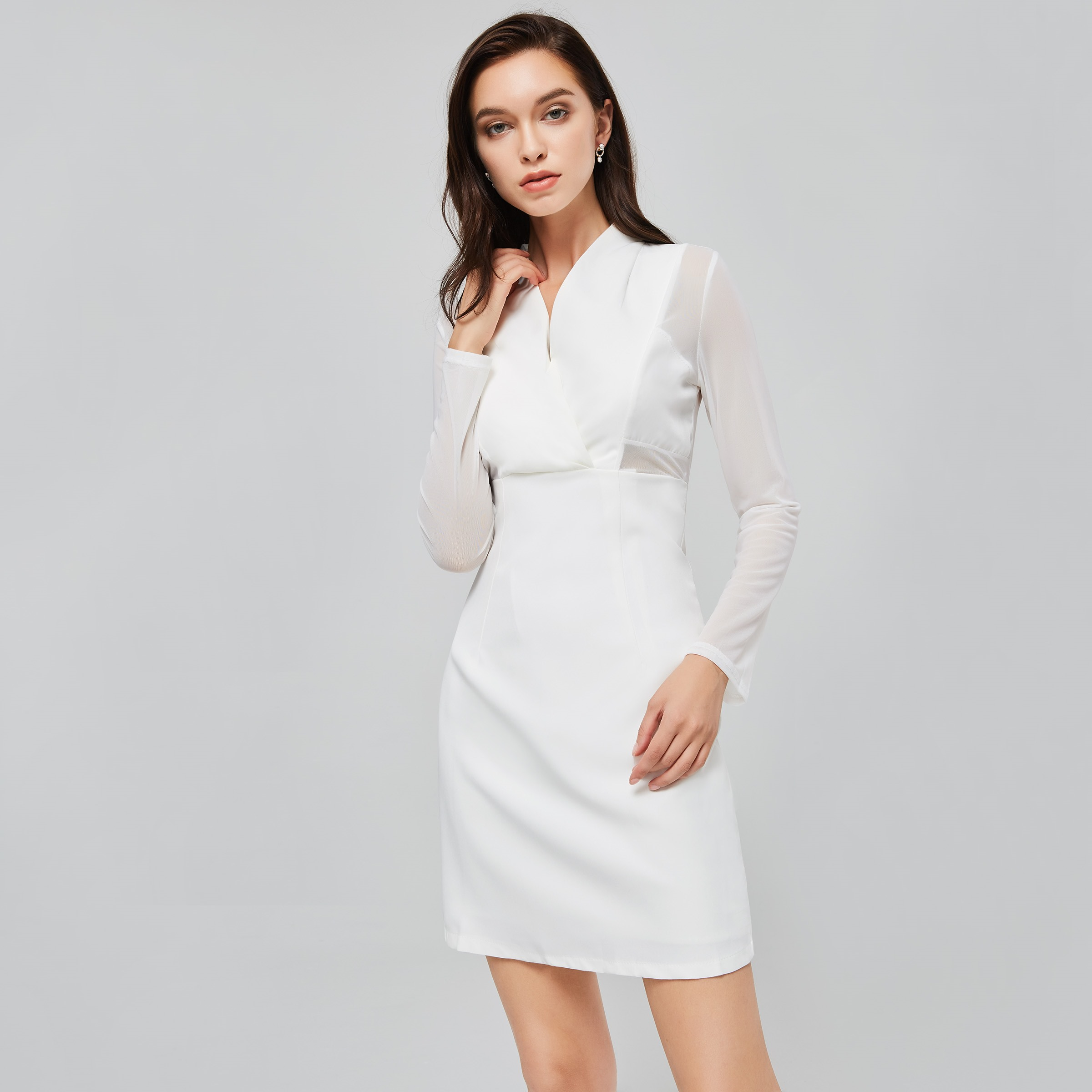 Aliexpress Com Buy Simple Elegant See Through Lace Part: White Sexy Bodycon Dress Women Autumn 2018 Mesh Sleeve See