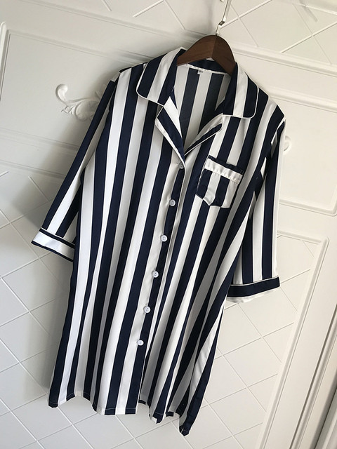 Loose Striped Women Nightgown Sleepwear 4