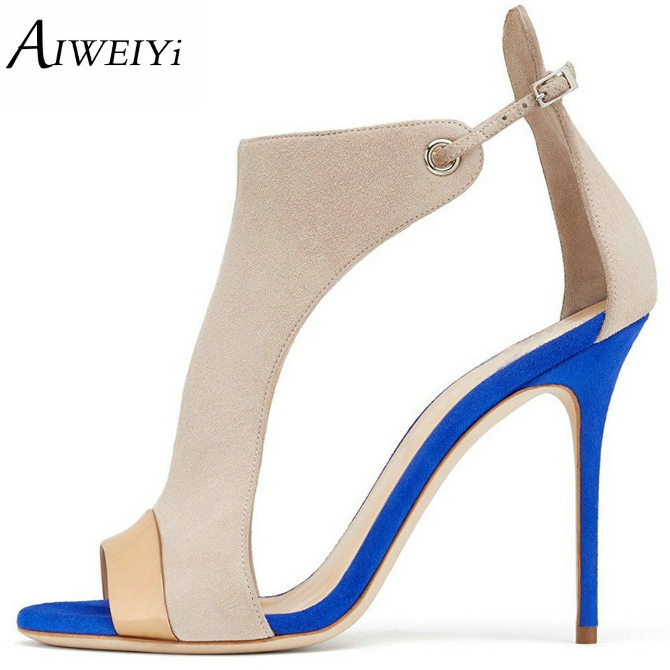 AIWEIYi Summer Women High Heels Sandals Open toe Shoes Cut out Sandals Ankle Strap Stiletto Casual Dress Pumps Party Shoes wholesale lttl new spring summer high heels shoes stiletto heel flock pointed toe sandals fashion ankle straps women party shoes