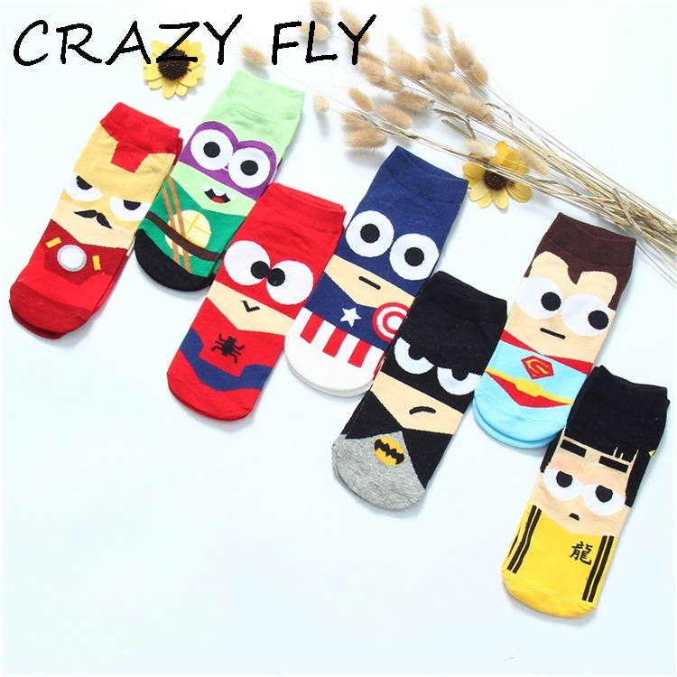 CRAZY FLY Wholesale Sox Superhero Supermen/Batman Boys Cotton Ankle Length Cartoon Novel 3D Casual   Socks   Women 2019