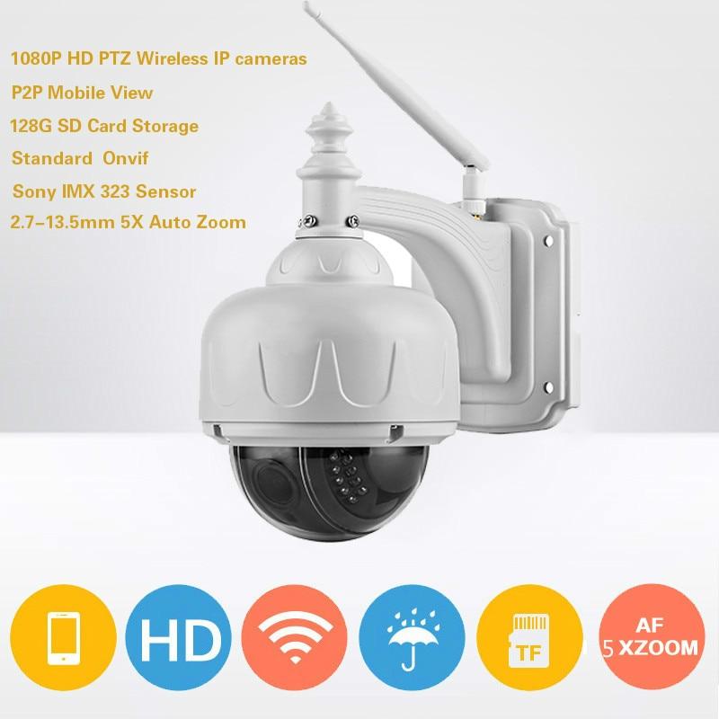 1080 P PTZ Sans Fil IP Caméra 2MP Vitesse Dôme de Sécurité Extérieure CCTV Caméra 2.7-13.5mm Mise Au Point Automatique 5x Zoom 128G SD Carte de stockage