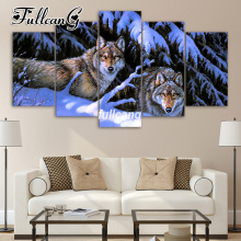 FULLCANG Diy 5PCS Full Square Diamond Embroidery Snow Wolf Painting Cross Stitch 5D Mosaic Needlework Kits D935