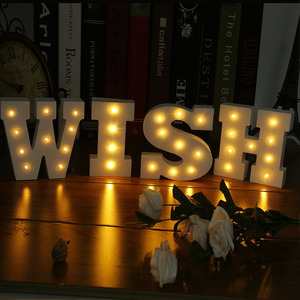 ICOCO New Wooden 26 Letters LED Nightligh Festival Light Party Bedroon Lamp Wall Hanging Photography Wedding Decor LED Light