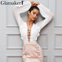 Glamaker Sexy V Neck Mesh Lace White Blouse Shirt Women Tops Lace Up Short Casual Shirt