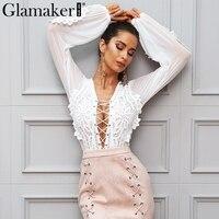 Glamaker Ahueca Hacia fuera malla de encaje blanco camisa de la blusa Mujeres tops lace up casual blusa See-through transparente blusa femenina blusas