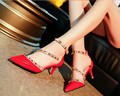 15..2016 new female Sandal Red High Heels with pointed toes thin heels Sexy Pump shoes zapatos mujer studded heels women shoes