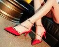 15 .. 2016 nueva mujer Sandalia Tacones Rojos en punta tacones delgados Sexy zapatos de la Bomba zapatos mujer tachonado tacones mujeres zapatos