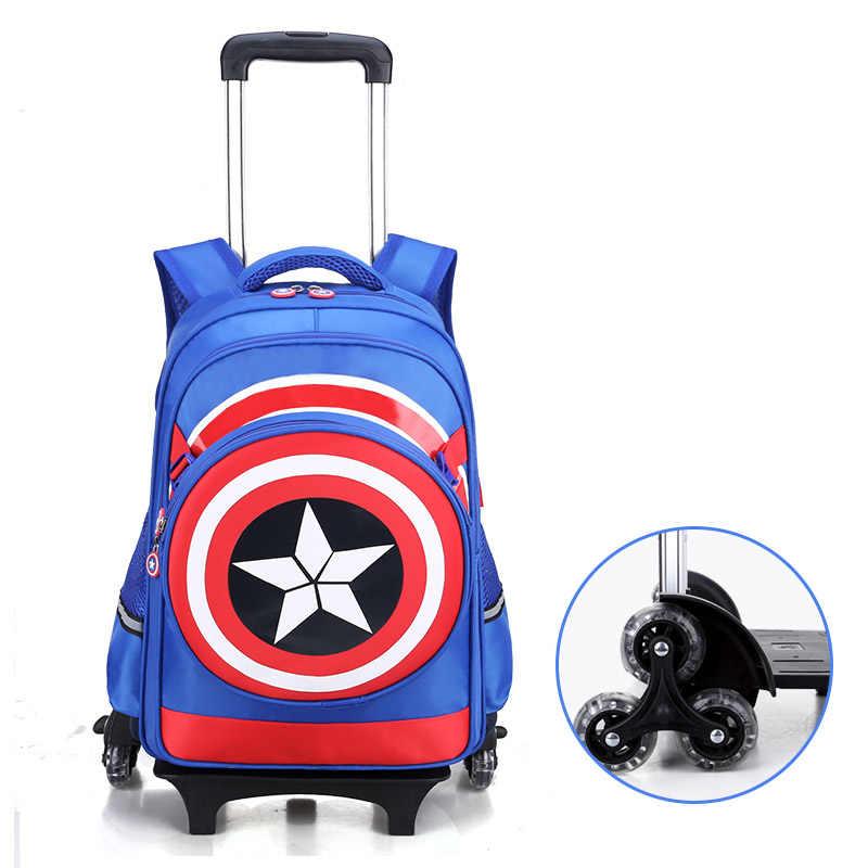 לעלות במדרגות מטען קריקטורה ילד תיק בית ספר תלמידי מתגלגל מזוודת ילדי נסיעות תרמיל קפטן אמריקה shoulde