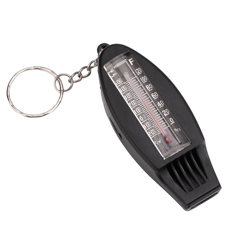 Multifunctional 4 In 1 Compass Thermometer Whistle Magnifier With Keychain Outdoor Sports Survival Emergency Self-defense Kits