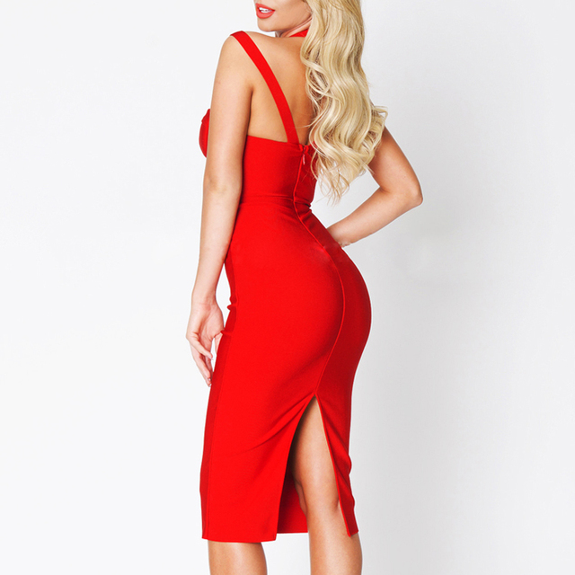Solid Spaghetti Strap Backless Party Bandage Dress