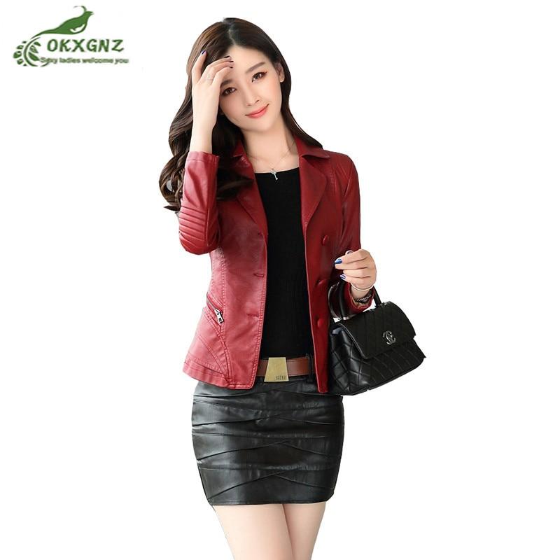 Spring autumn PU   leather   Outerwear Women new small suit jacket coat female fashion Slim thin women short coat winter OKXGNZ