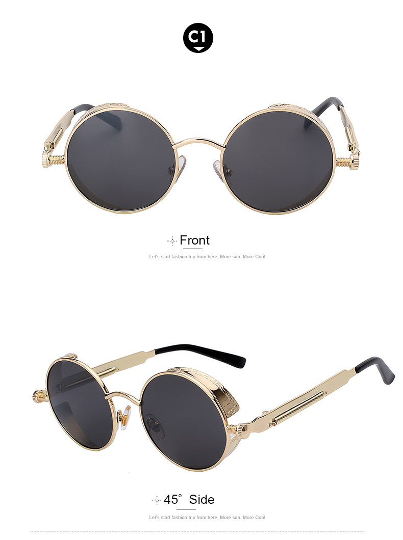 Round Retro Steampunk Metal Sunglasses - C1