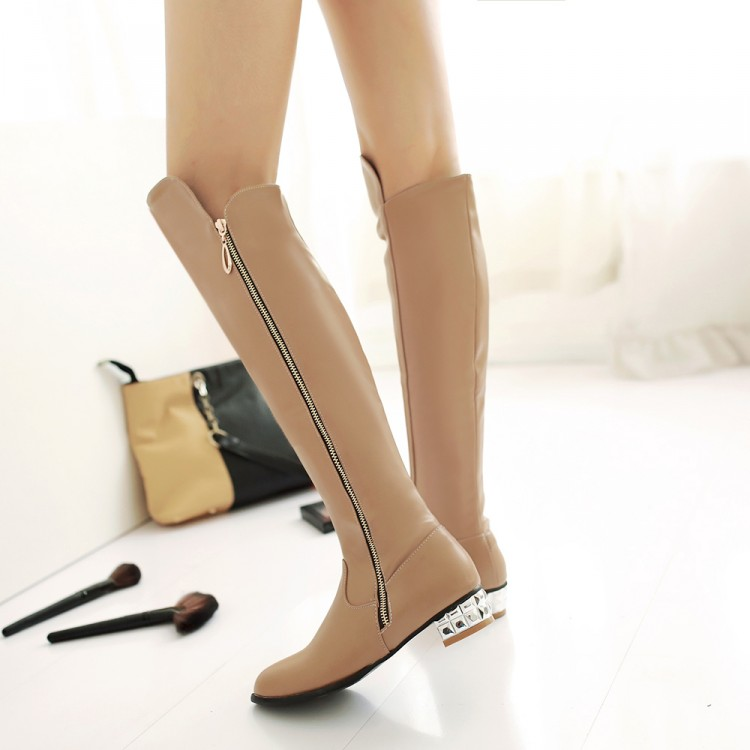 ФОТО 2015 autumn winter women boots customized plus size 42 44 45 low thick heel long boots Side zipper causal boot student warm boot