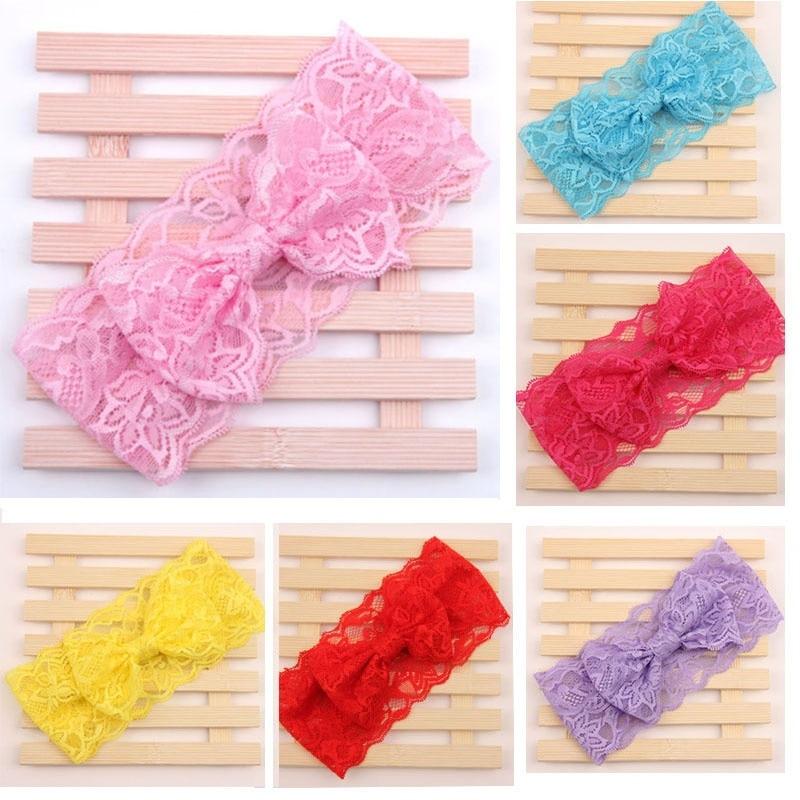 pcs fashion cute kids bowknot hairband colorful lace hairband girls headwear diademas bebes ninas