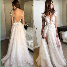 Sexy Deep V Neck Lace Wedding Dress 2019 Backless High Split Tulle Bridal Gowns Vestido de novia Floor Length Wedding Gowns
