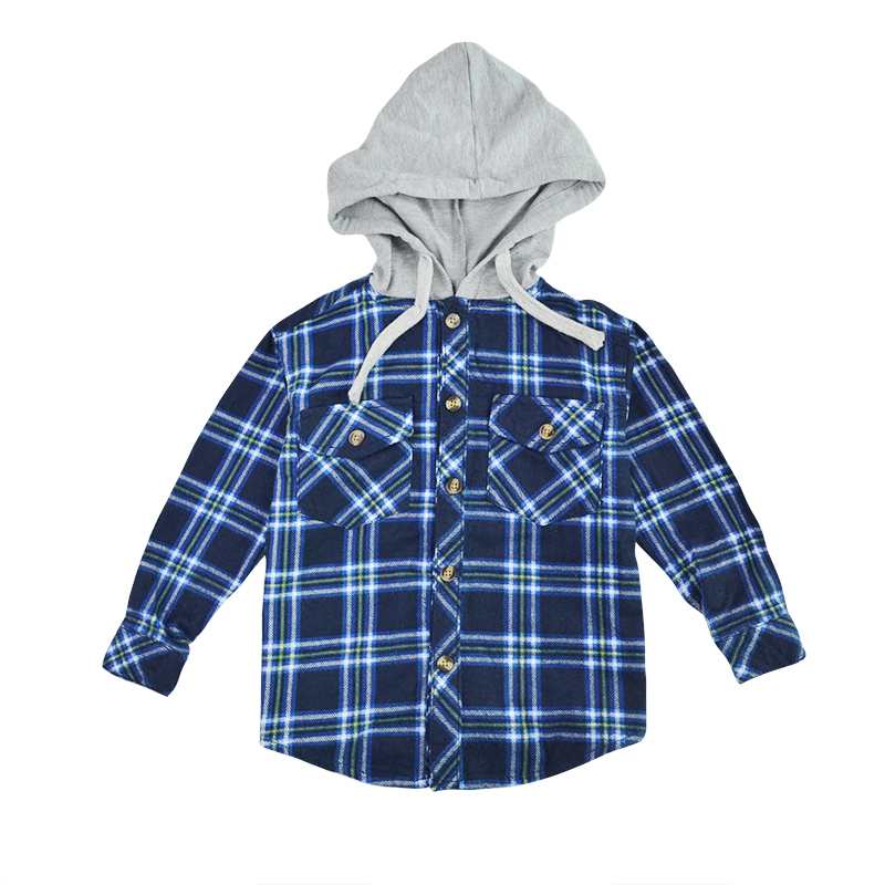Baby Boys Shirts Plaid Shirts Flannel Boys Shirts For Children Long Sleeved Blouse Fall Winter Warm Hooded Tops Outwear Рубашка