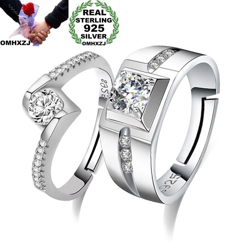 OMHXZJ Wholesale European Fashion Woman Man Party Wedding Gift Simple White Lovers AAA Zircon 925 Sterling Silver Ring Set RR240