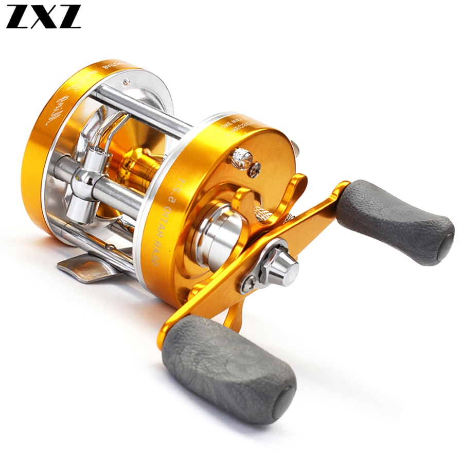 All Metal Carbon Centrifugal Double Brake 5.2:1 Fishing Bait Casting Baitcasting Spinning Reel Power Handle Wheel for Bass Fish
